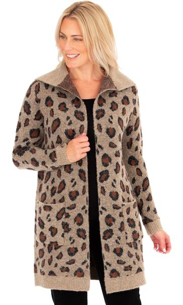 Animal Print Open Cardigan Brown/Black