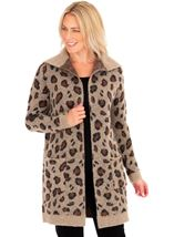 Animal Print Open Cardigan Brown/Black - Gallery Image 1