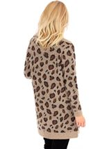 Animal Print Open Cardigan Brown/Black - Gallery Image 2