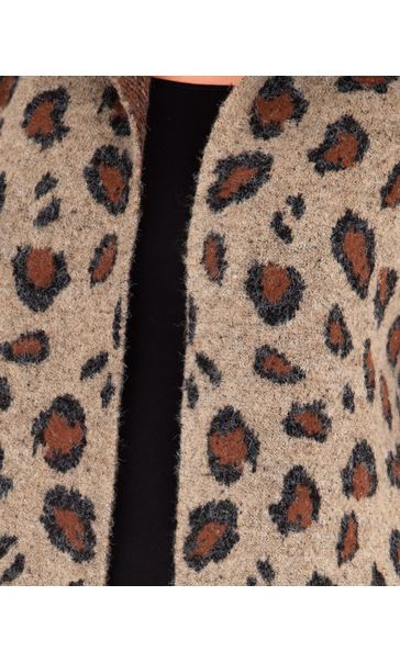 Animal Print Open Cardigan Brown/Black - Gallery Image 3