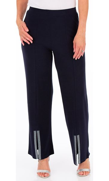 Embellished Split Front Wide Leg Trousers Midnight