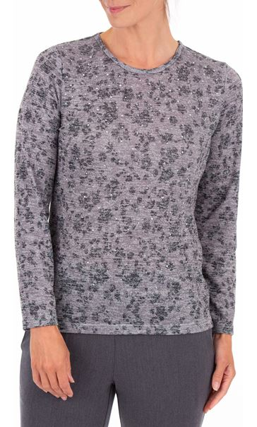 Anna Rose Embellished Lightweight Knit Top Grey Marl