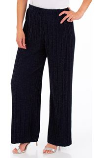Pleated Pull On Sparkle Trousers - Midnight/Silver
