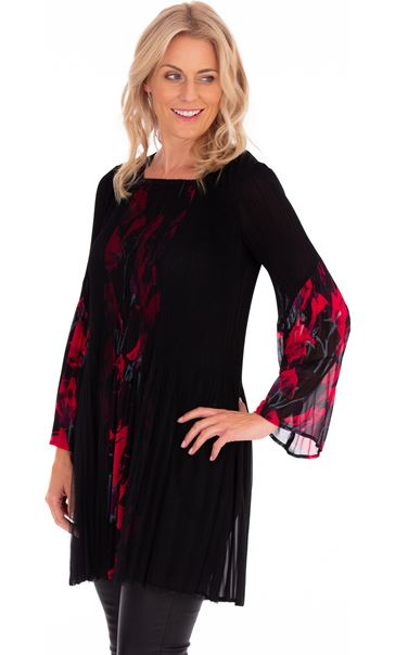 Pleated Flute Sleeve Layered Tunic Black/Pinks