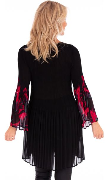 Pleated Flute Sleeve Layered Tunic Black/Pinks - Gallery Image 2