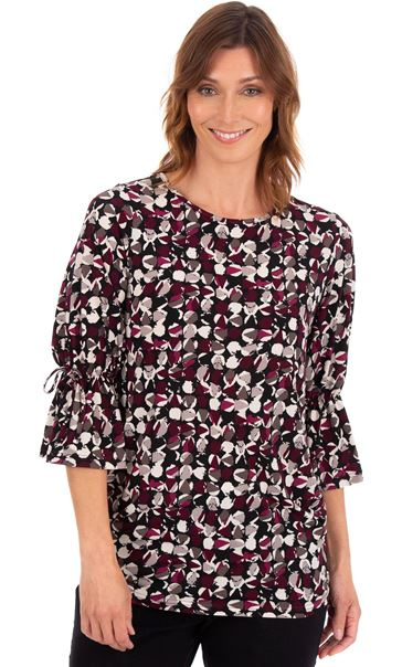 Printed Three Quarter Fluted Sleeve Tunic Black/Damson - Gallery Image 1