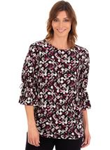Printed Three Quarter Fluted Sleeve Tunic