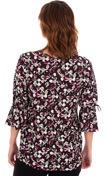 Printed Three Quarter Fluted Sleeve Tunic Black/Damson - Gallery Image 2