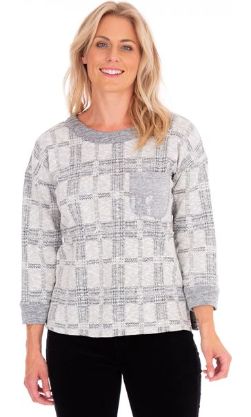 Embellished Checked Knit Top Cream/Grey