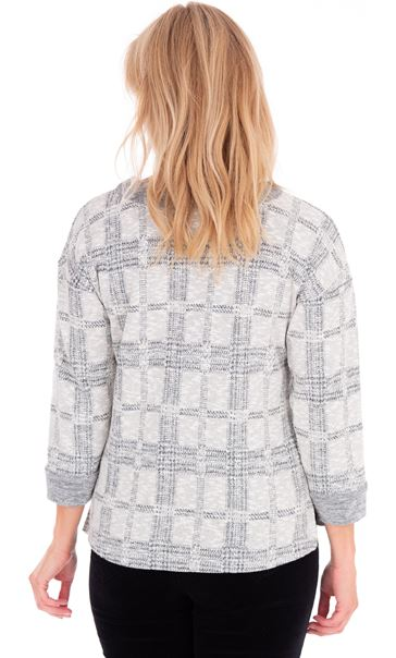 Embellished Checked Knit Top Cream/Grey - Gallery Image 2