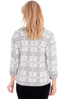Embellished Checked Knit Top