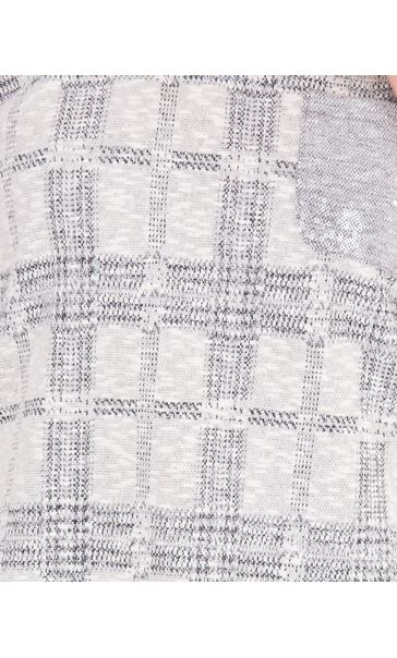 Embellished Checked Knit Top Cream/Grey - Gallery Image 3