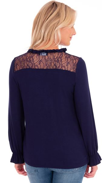 Lace Trim Long Sleeve Jersey Top Midnight - Gallery Image 2