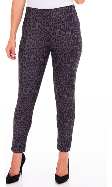 Animal Printed Suedette Slim Leg Trousers Black/Grey