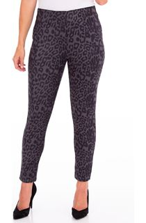 Animal Printed Suedette Slim Leg Trousers