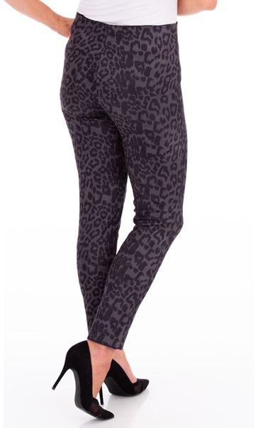 Animal Printed Suedette Slim Leg Trousers Black/Grey - Gallery Image 2