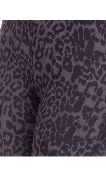 Animal Printed Suedette Slim Leg Trousers Black/Grey - Gallery Image 3