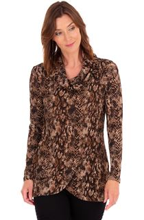 Animal Print Wrap Over Knit Top