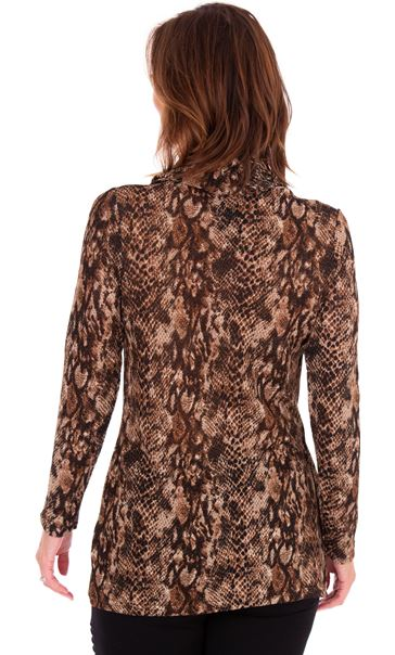 Animal Print Wrap Over Knit Top Browns - Gallery Image 2