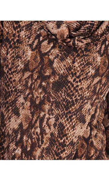 Animal Print Wrap Over Knit Top Browns - Gallery Image 3