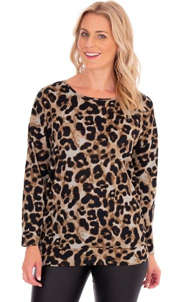 Zip Back Animal Print Knit Tunic Beige/Brown