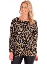 Zip Back Animal Print Knit Tunic