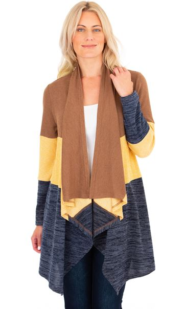 Colour Block Lightweight Knitted Cardigan Midnight/Mustard/Beige
