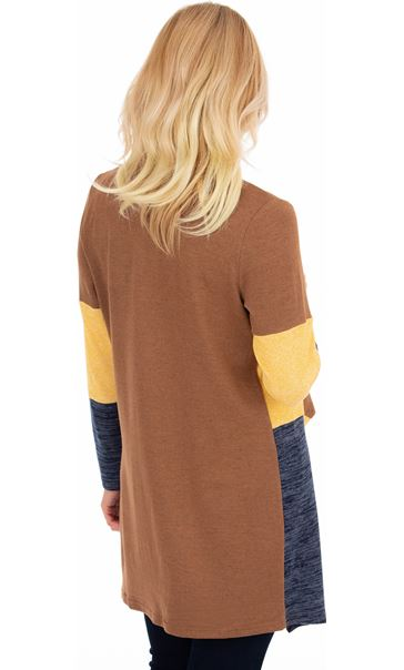 Colour Block Lightweight Knitted Cardigan Midnight/Mustard/Beige - Gallery Image 2