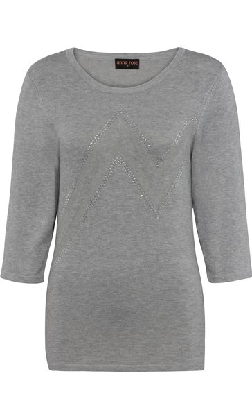 Anna Rose Embellished Knit Top - Grey