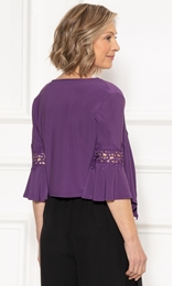 Anna Rose Lace Trim Cover Up Purple - Gallery Image 2