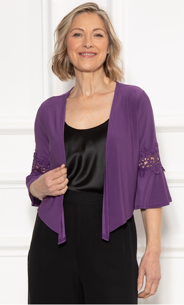 Anna Rose Lace Trim Cover Up Purple - Gallery Image 3