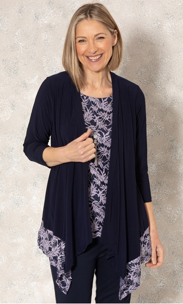 Anna Rose Glitter Lace Insert Top With Necklace Midnight/Purple