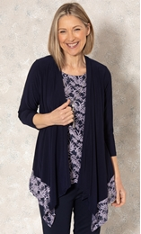 Anna Rose Glitter Lace Insert Top With Necklace Midnight/Purple - Gallery Image 1