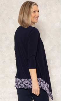 Anna Rose Glitter Lace Insert Top With Necklace