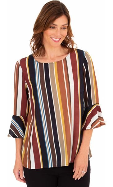 Striped Fluted Cuff Lightweight Top