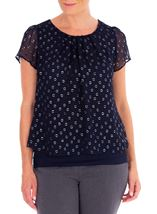 Anna Rose Spot Chiffon Layered Top Midnight - Gallery Image 1