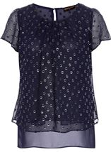 Anna Rose Spot Chiffon Layered Top Midnight - Gallery Image 4