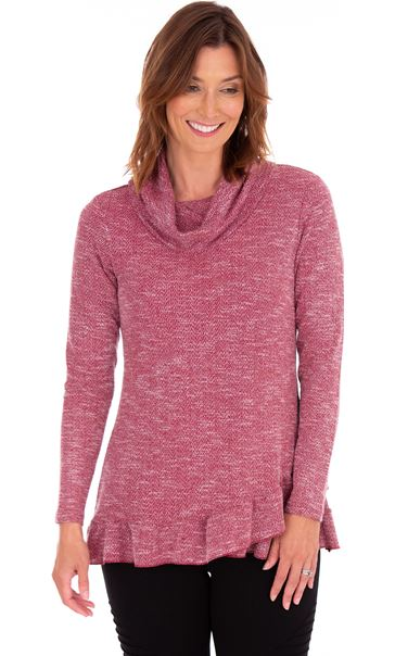 Cowl Neck Long Sleeve Knit Top Red