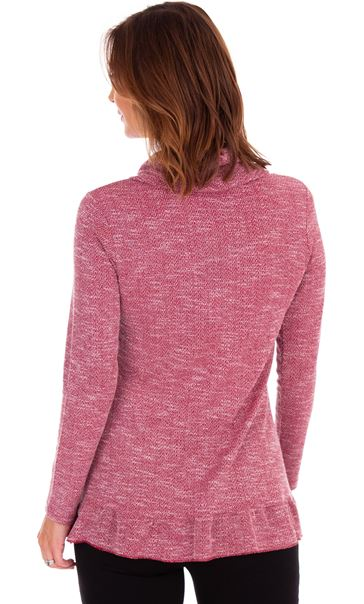 Cowl Neck Long Sleeve Knit Top Red - Gallery Image 2
