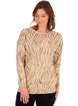 Animal Printed Knit Top Gold - Gallery Image 2