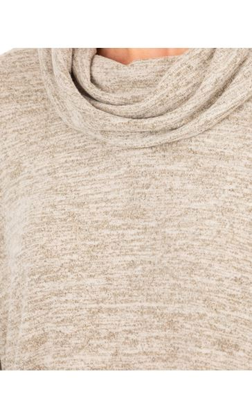 Oversized Cowl Neck Knitted Tunic Marl Beige - Gallery Image 3