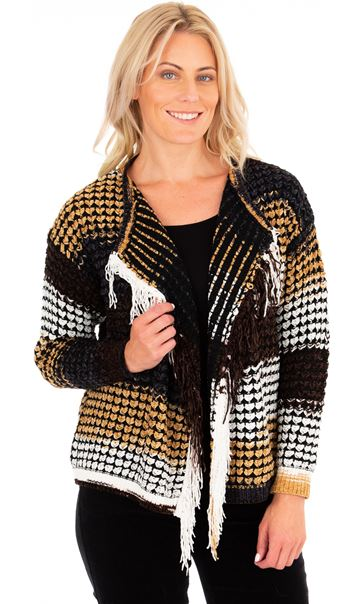 Open Front Knitted Cardigan Black/Camel