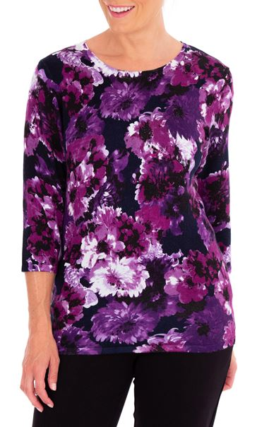 Anna Rose Embellished Floral Knit Top Midnight/Purple