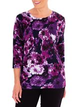 Anna Rose Embellished Floral Knit Top Midnight/Purple - Gallery Image 1