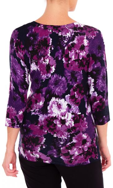 Anna Rose Embellished Floral Knit Top Midnight/Purple - Gallery Image 2