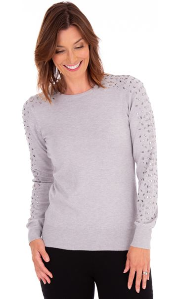 Embellished Long Sleeve Knit Top Grey Marl