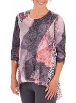 Anna Rose Long Sleeve Layered Print Top Grey/Pink - Gallery Image 1