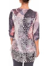 Anna Rose Long Sleeve Layered Print Top Grey/Pink - Gallery Image 2