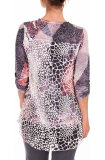 Anna Rose Long Sleeve Layered Print Top