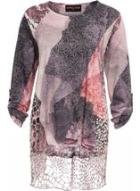 Anna Rose Long Sleeve Layered Print Top Grey/Pink - Gallery Image 3